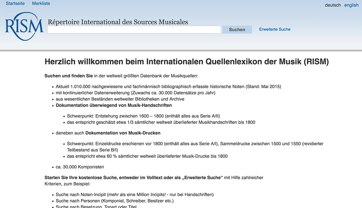 Screenshot von https://opac.rism.info/